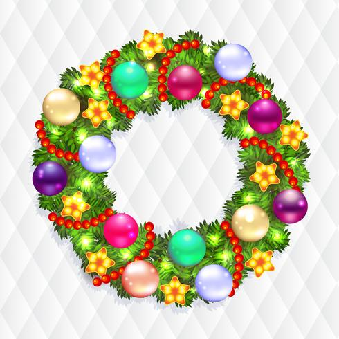Weihnachtskranz mit Tanne und Stechpalme vektor