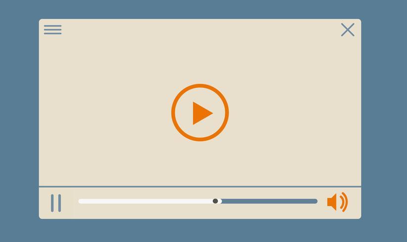 Flacher Videoplayer für Web- und mobile Apps vektor