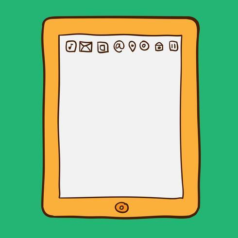 Digital tablett. Doodle stil vektor
