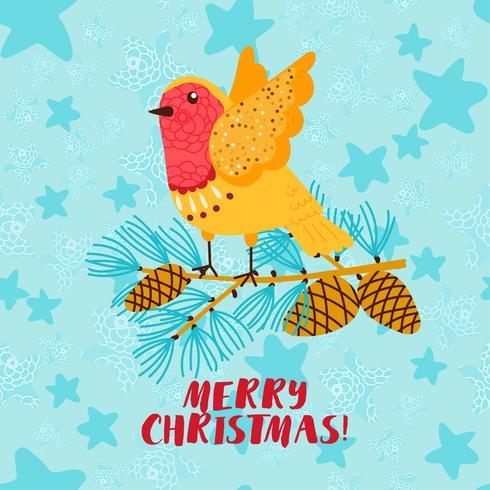 God jul hälsningskort med robin fågel vektor
