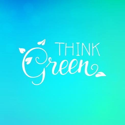 Tänk grön Bokstäver med löv jord dagskydd vektor