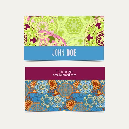 Mall visitkort mönster med islamiskt marocko mönster. vektor