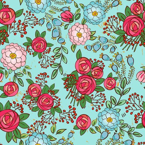 nahtlos mit Vintage-Blumensträußen vektor