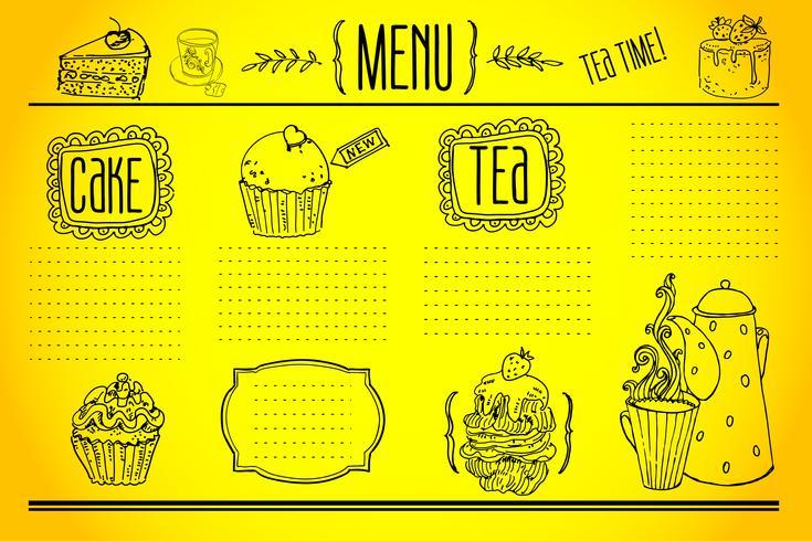 Tee und Süßigkeiten - Kritzeleien-Sammlung vektor