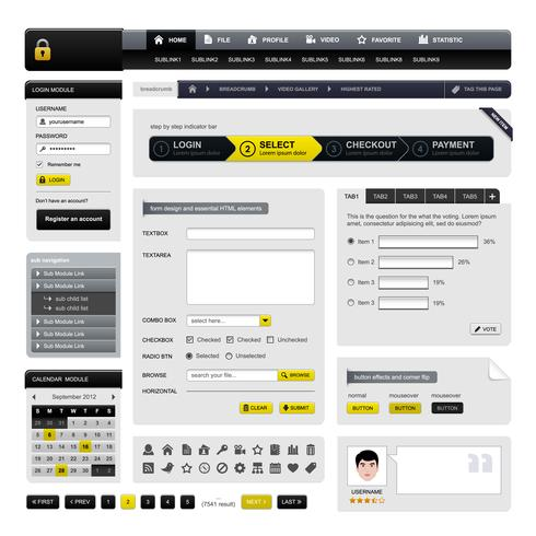 Webdesign Webbplats Element Vector. vektor