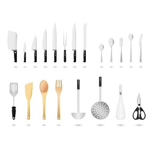 Küchengeräte Set Vektor. vektor