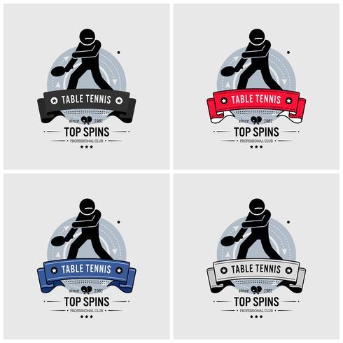 Tischtennis-Club-Logo-Design. vektor