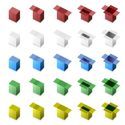 3D-rutan nära till (steg för steg). vektor