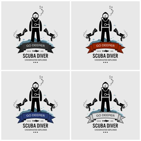 Dykning logotyp design. vektor
