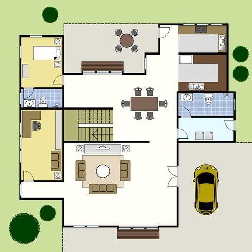 Grundriss Architekturplan Haus. vektor
