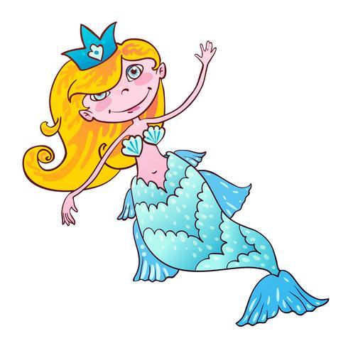 Schatz Meerjungfrau. Kawaii Mädchen Naiad Maritime Prinzessin. vektor