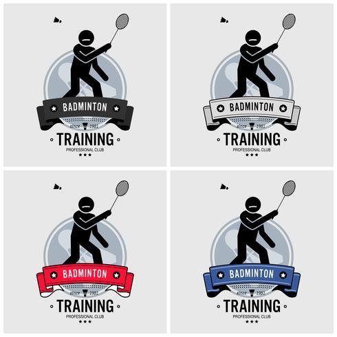 Badminton klubb logo design. vektor