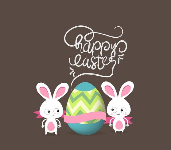 lycklig påsk med doodle blommig kanin bildram vektor