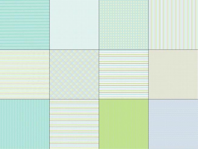 Blågrön Stripe & Plaid Patterns vektor