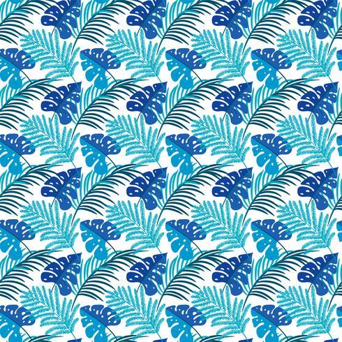 Tropische Blätter. Nahtlose Beschaffenheit mit hellen Hand gezeichneten Blättern von Monstera vektor