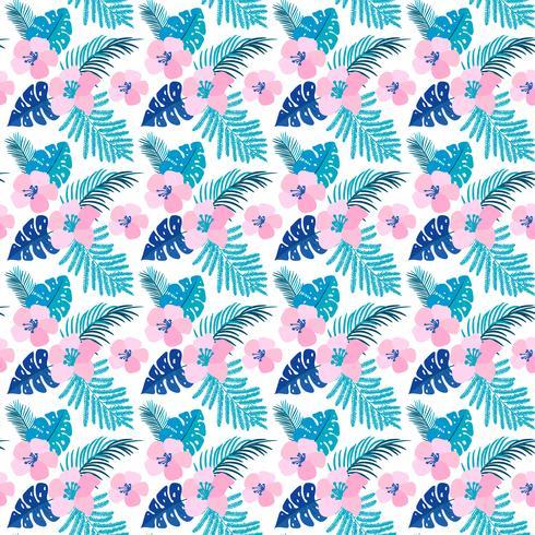 Vektor sommar sömlösa mönster med plana blommor och tropiska blad av Monstera