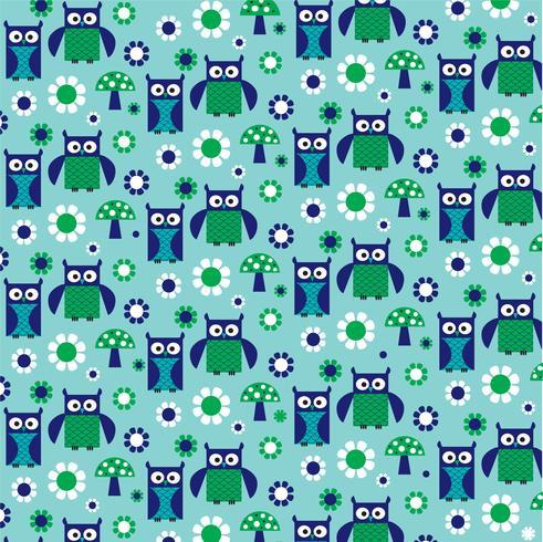 blågrön uggla och svampmönster vektor