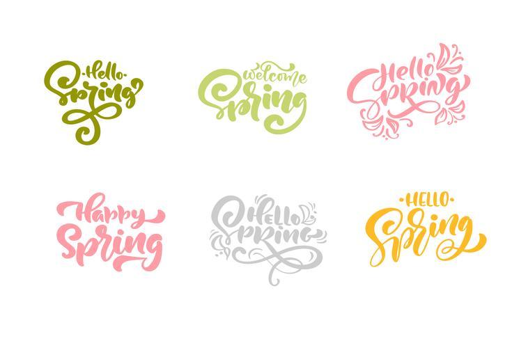 Satz von sechs hallo Frühlings-Pastellkalligraphie-Beschriftungsausdrücken vektor