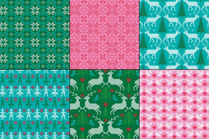Broderade nordiska mönster vektor
