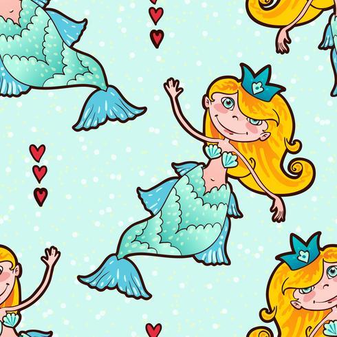Mermaid sömlös mönster. Kawaii Maritime Princess. vektor