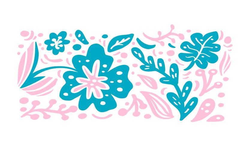 Sommar skandinavisk prydnad vektor blommig tropisk bukett komposition för design