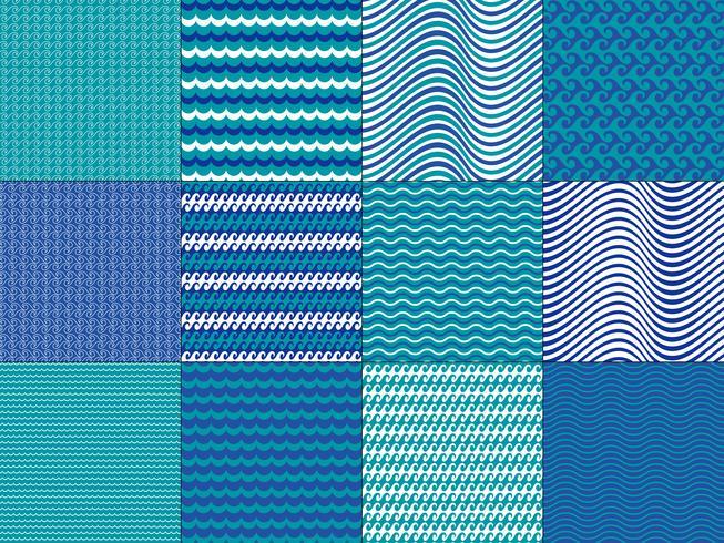 Turkos Blue Wave Patterns vektor
