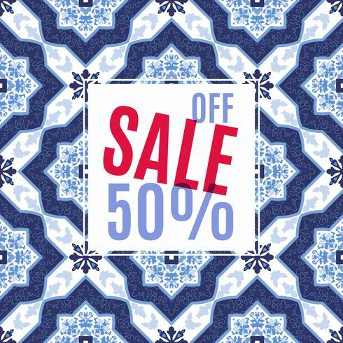 Ljus design för din försäljning, rabatter och kampanjer. Azulejos portugal stil. vektor
