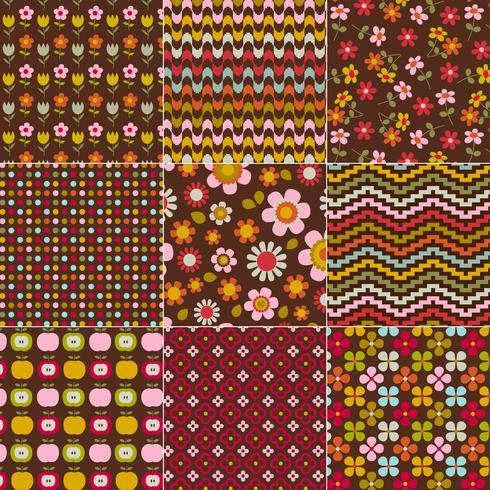 sömlösa retro blommiga och geometriska mönster vektor