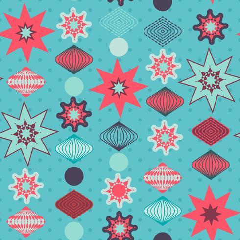 Retro juldekorationer, sömlöst mönster vektor