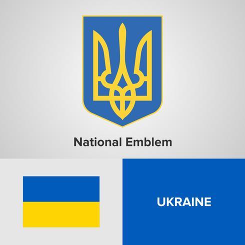 Ukrainas nationella emblem, karta och flagga vektor