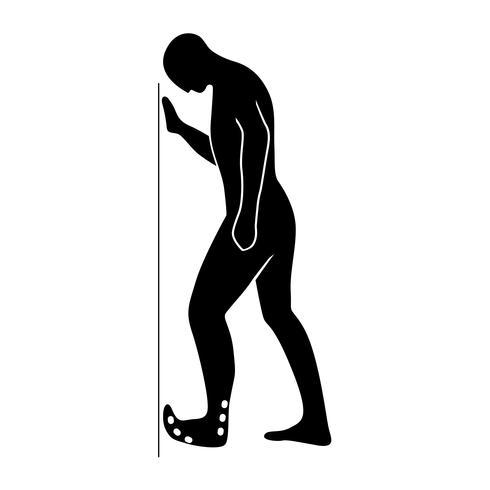 Stretching-Übung-Symbol zum Dehnen des Fußes. vektor