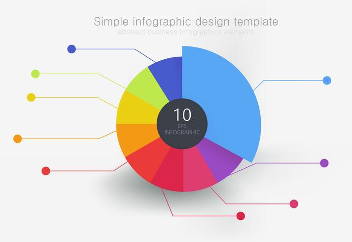 Runda flerfärgade element för infographics, uppdelad i 9 delar. Vektor platt illustration
