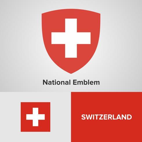 Schweiz National Emblem, karta och flagga vektor