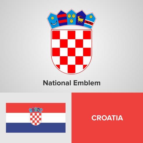 Kroatien nationellt emblem, karta och flagga vektor