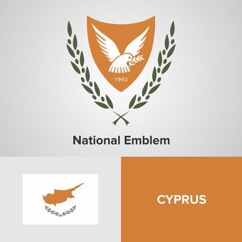 Cyperns nationella emblem, karta och flagga vektor