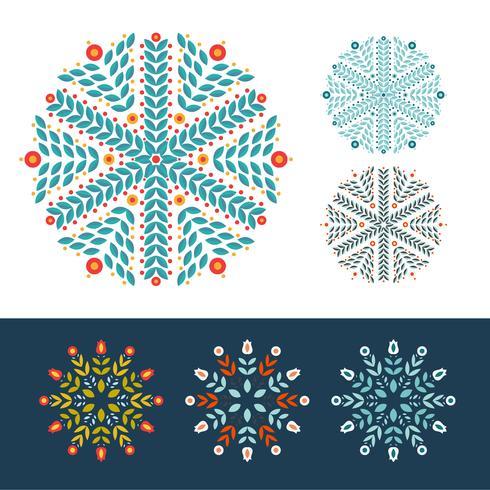 Snöflingor vinter set vektor