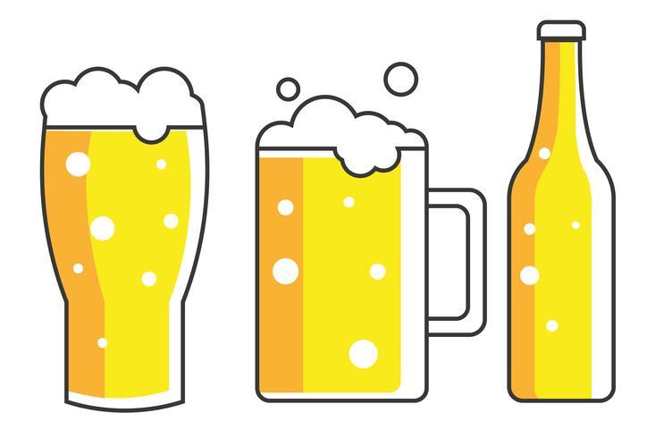 Glas, mugg och en flaska öl. platt illustration vektor