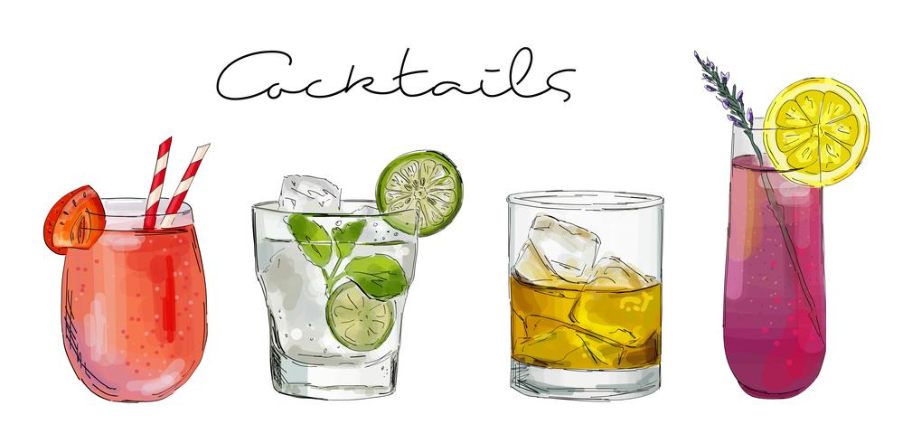 Handritad illustration med cocktails. vektor