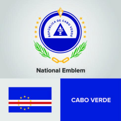 Cabo Verde National Emblem, karta och flagga vektor