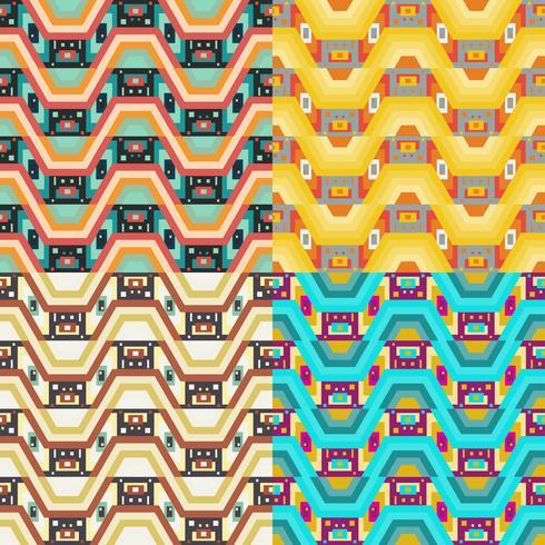 Retro verschiedene nahtlose Muster Kacheln. vektor