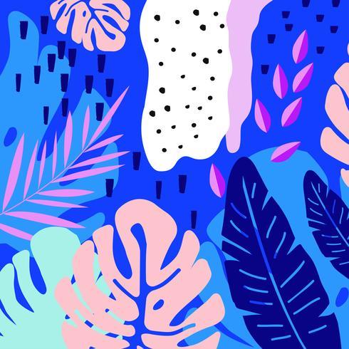 Tropiska djungeln lämnar bakgrunden. Tropisk affischdesign vektor