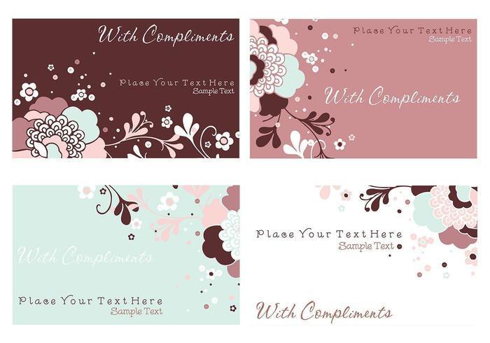 Floral Visitenkarte und Briefpapier Vector Pack