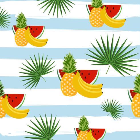 Früchte mit Palmblättern auf nahtlosem Musterhintergrund der Streifen vektor