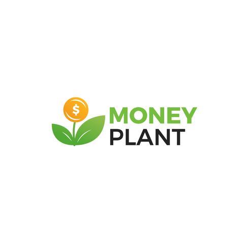 Geld Pflanzenlogo. Wachstum von Investitionen und Investitionen. Treuhandfonds-Logo vektor