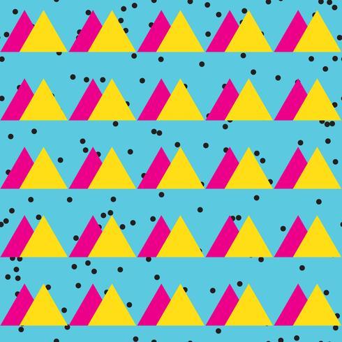 Nahtloses abstraktes Muster der Weinlese mit Dreiecken im Stil der achtziger Jahre. vektor