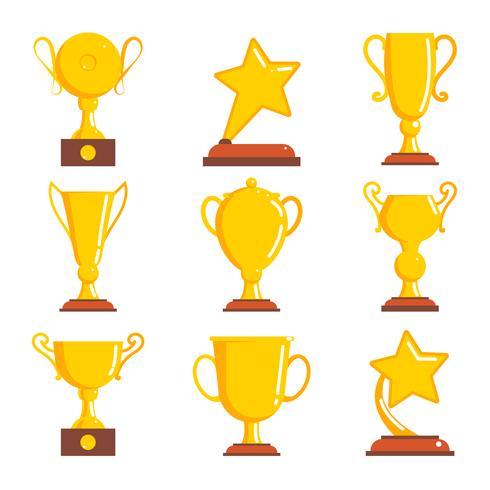 Vinnareikoner för Champions Awards. vektor