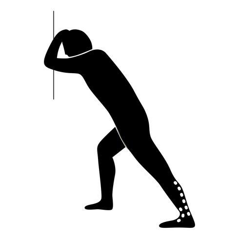 Stretching Exercise Icon för att sträcka tvillingmuskel. vektor