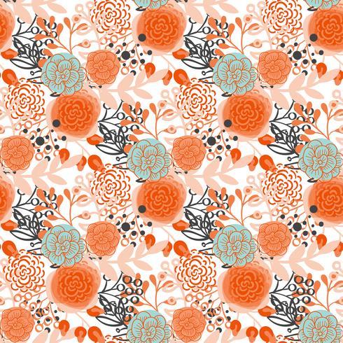 Vintage sömlösa mönster handgjorda blommor vektor