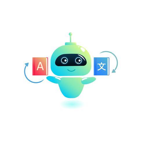 Chatbot Translator. Online översätter dina meddelanden till ett annat språk. Bot rymmer bokordböcker. Vektor tecknad illustration