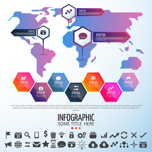 Weltkarte Infografiken Designvorlage vektor